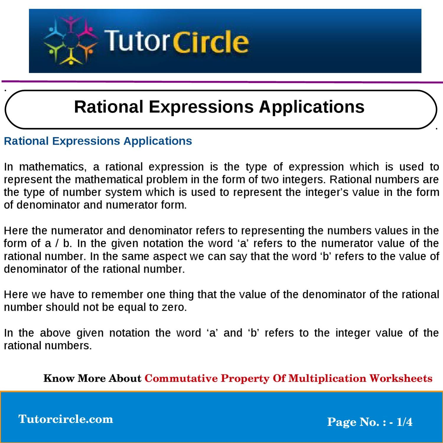 Rational expressions applications by tutorcircle team issuu ibookread Download