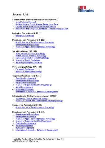 Journal List in Psychology by NTU Subject Rooms - issuu