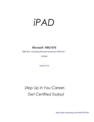 Examways MB2-876 Exam - Extending Microsoft Dynamics CRM 2011 by ...