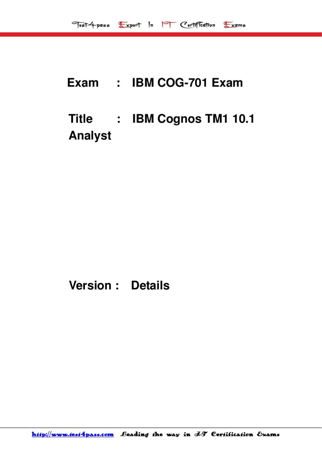 Test4pass Ibm Test Cog 701 Exam Details 4shared By Tonic Jackie Issuu
