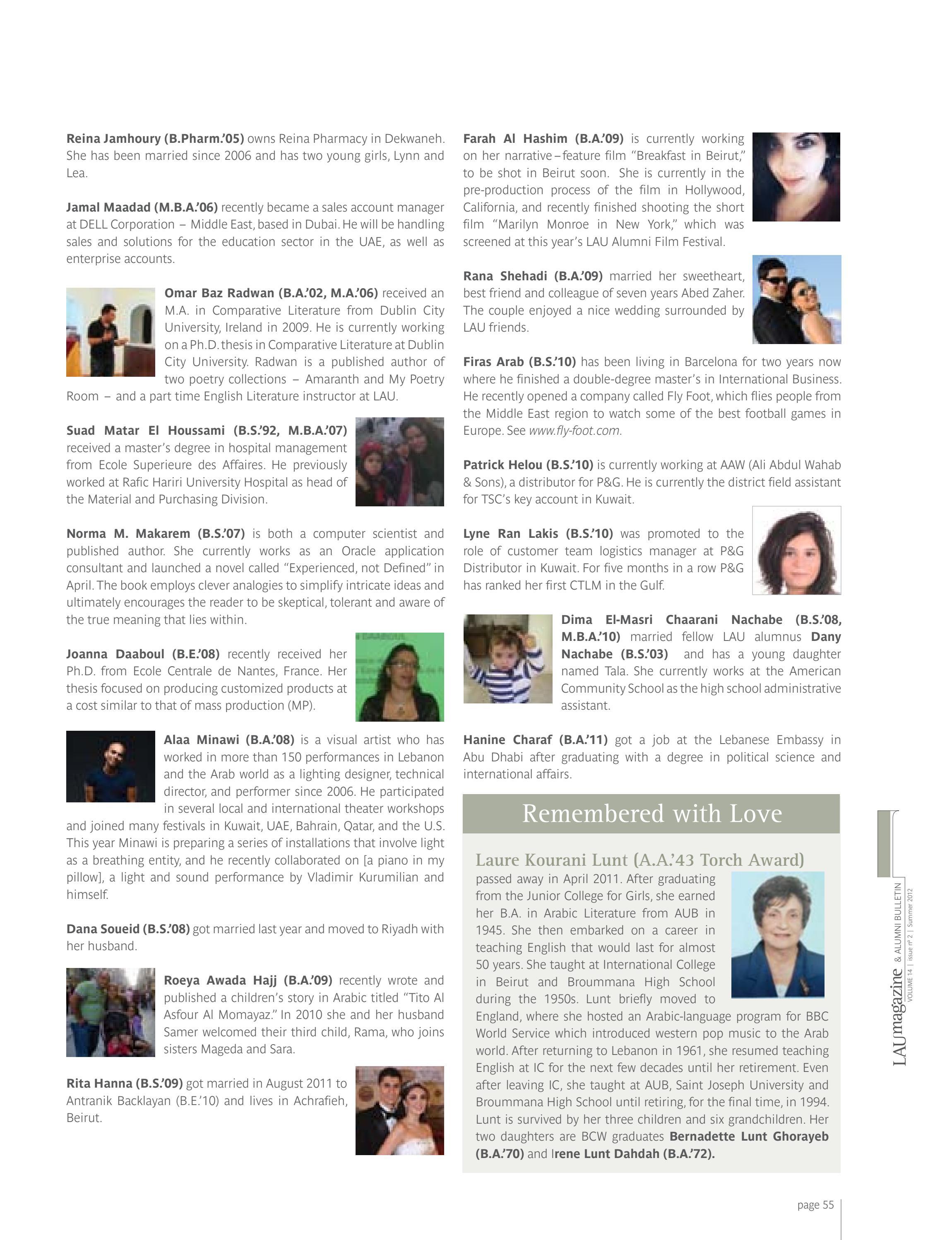 LAU Magazine & Alumni Bulletin (Summer 2012, Vol  14, Issue no  2