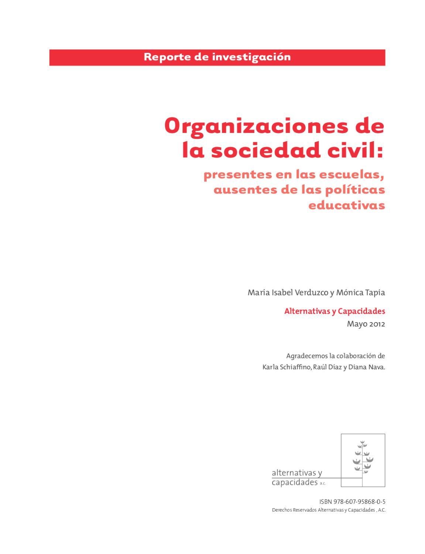 Organizaciones de la sociedad civil: presentes en las escuelas ...