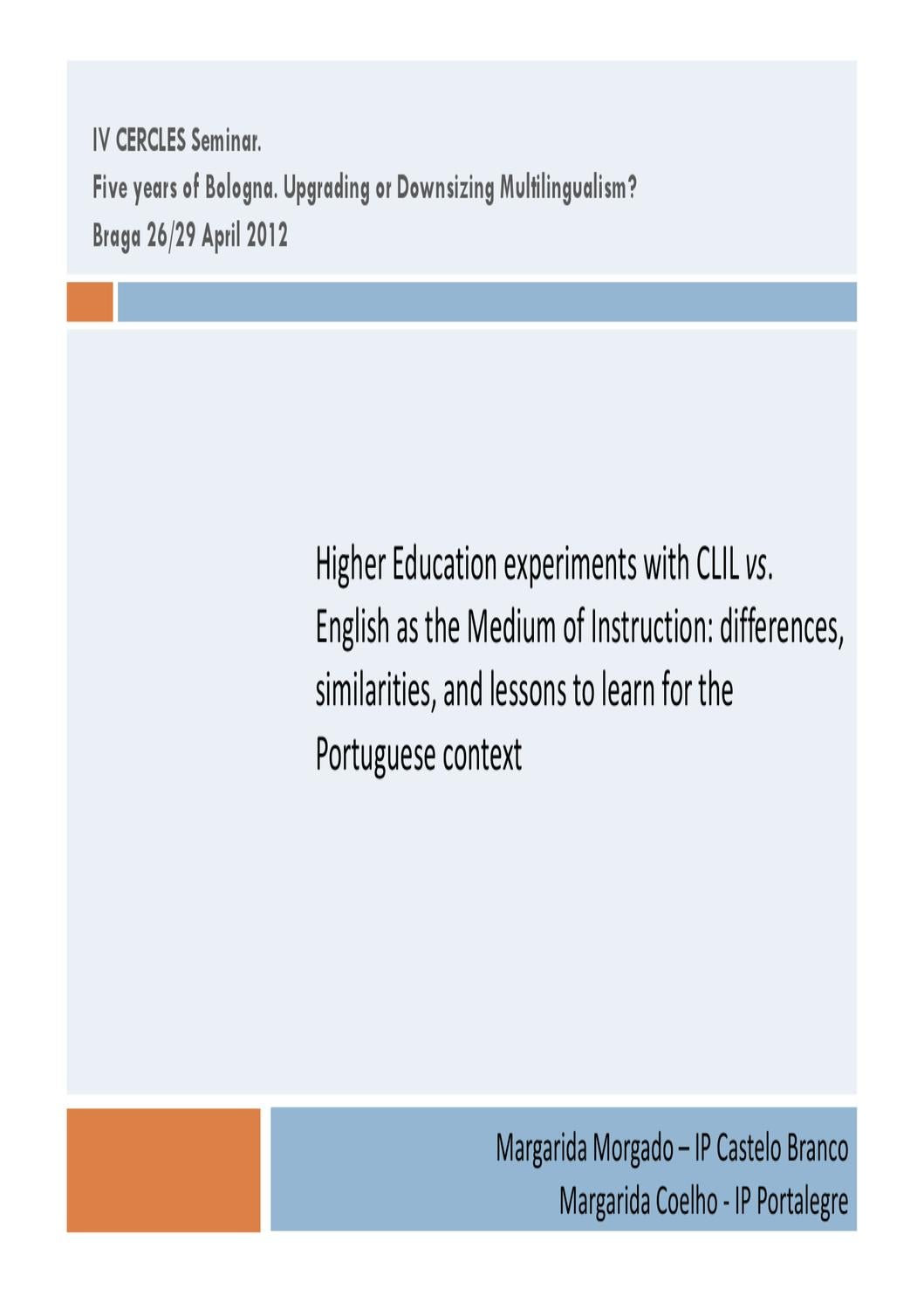 Towards a Multilingual Language Policy CLIL in Higher Education