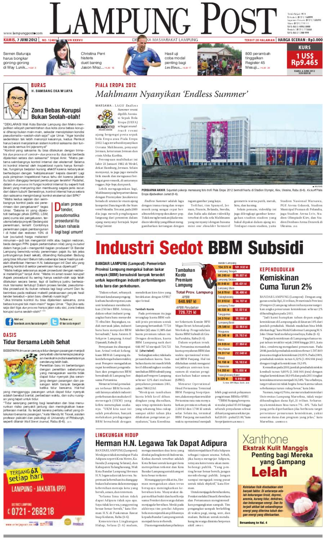 Lampungpost Edisi 7 Juni 2012 By Lampung Post Issuu Tusuk Gigi Eceran Restoran