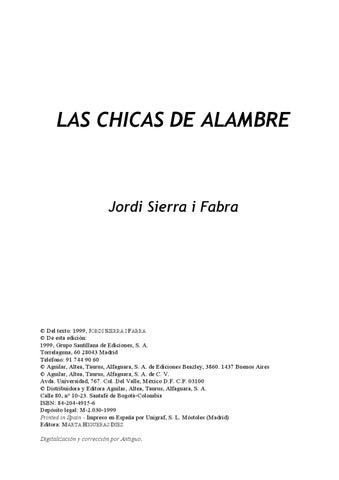 Las chicas de alambre - Jordi Sierra by Camila Olavarria - issuu