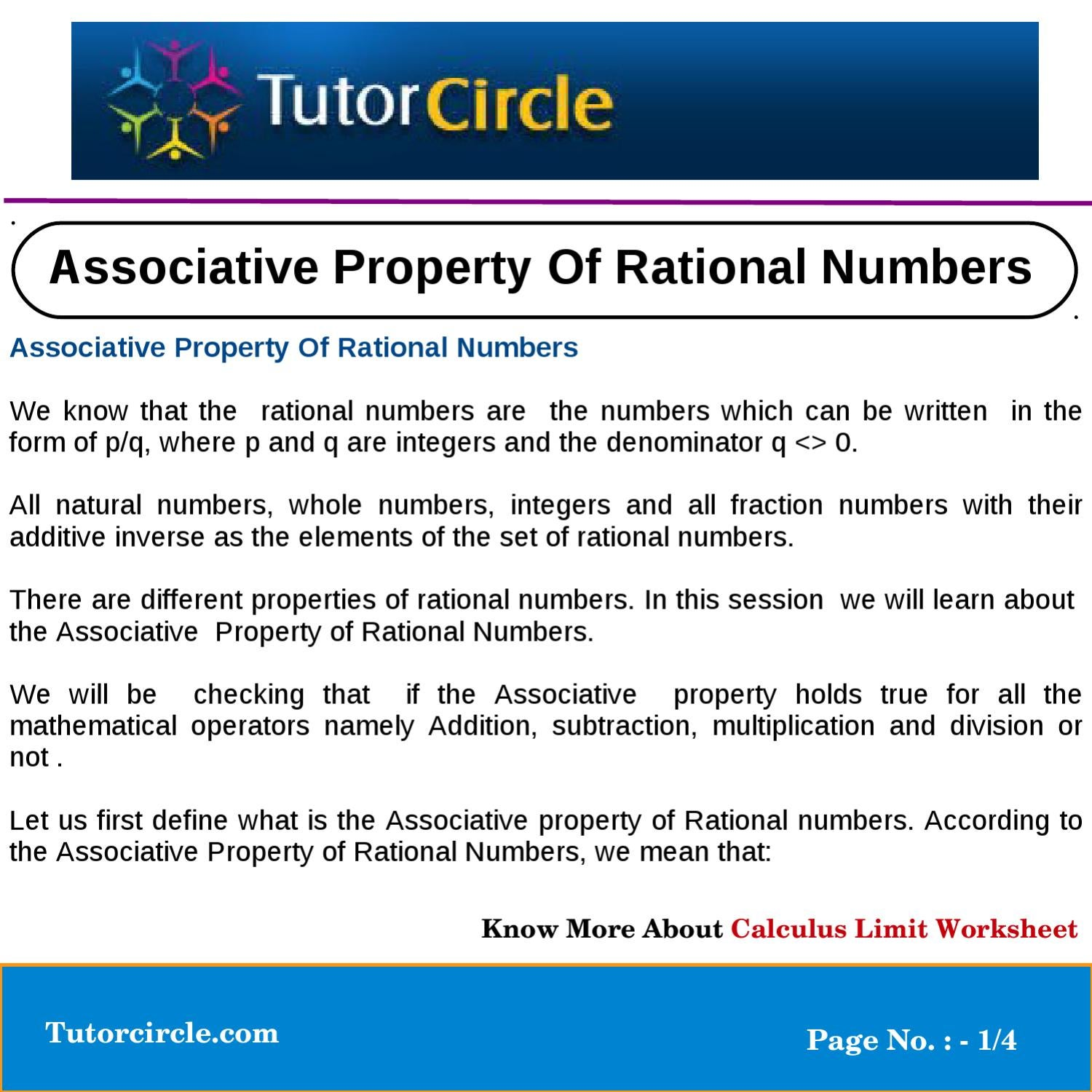 Associative Property Of Rational Numbers by tutorcircle team