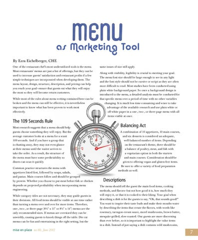 Mise En Place Issue 60 Menu As Marketing Tool By The