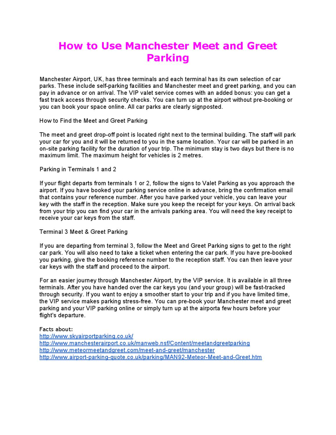 Manchester Meet And Greet Parking By Scott Ziebarth Issuu