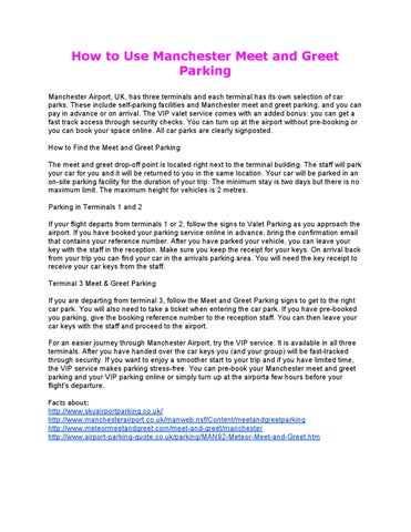 Manchester meet and greet parking by scott ziebarth issuu how to use manchester meet and greet parking manchester airport uk has three terminals and each terminal has its own selection of car parks m4hsunfo Gallery
