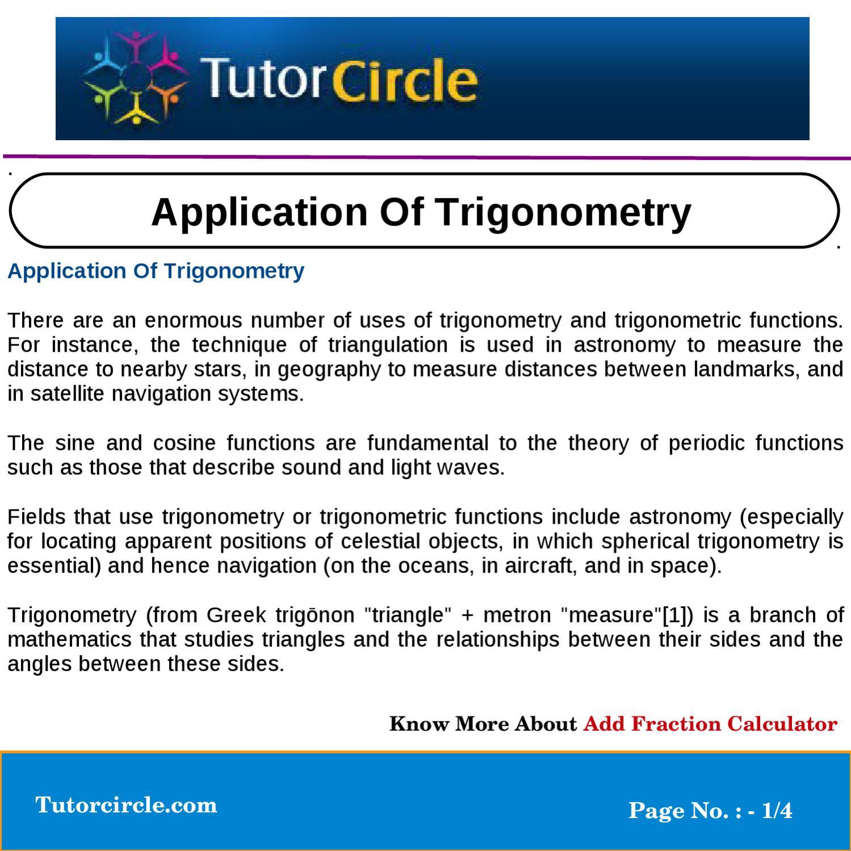 Application Of Trigonometry by tutorcircle team - issuu