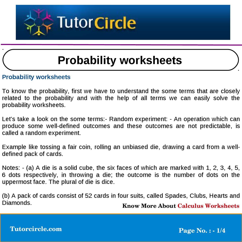 Probability Worksheets By Tutorcircle Team Issuu