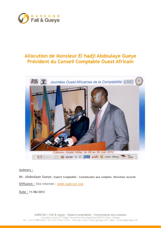 Allocution De Monsieur El Hadji Abdoulaye Gueyepr U00e9sident
