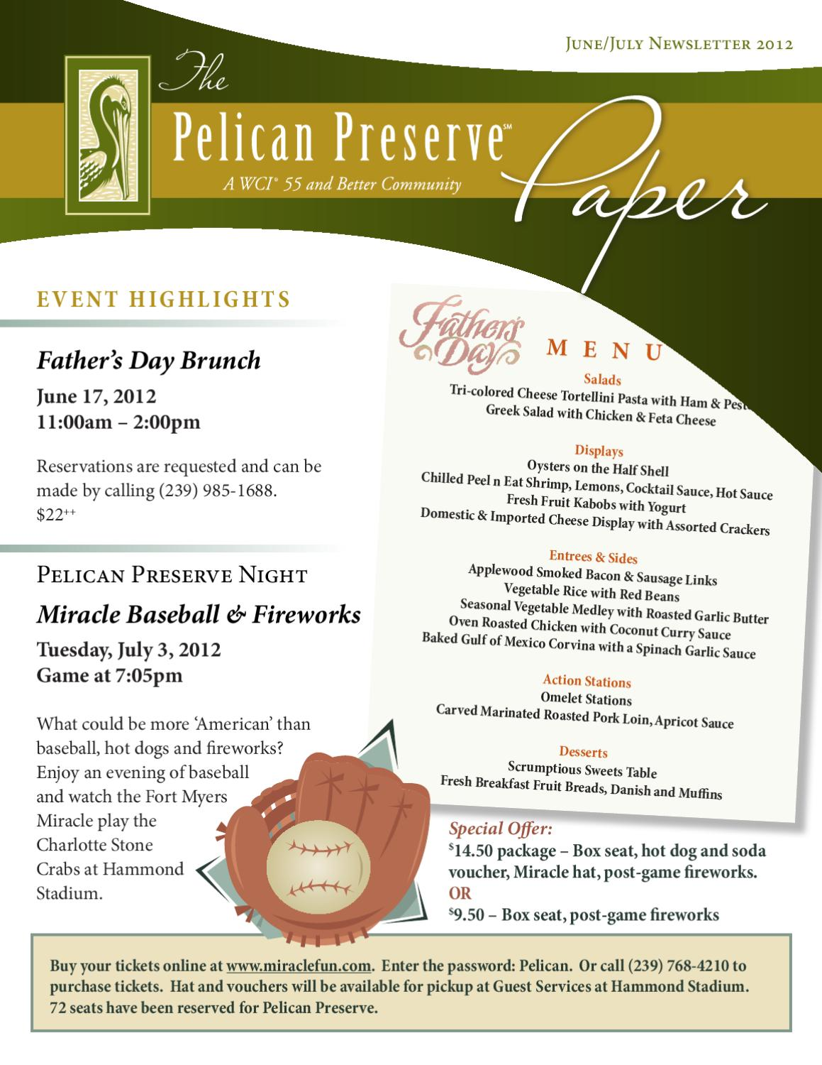 Pelican Preserve June/July Amenity Newsletter by Pelican