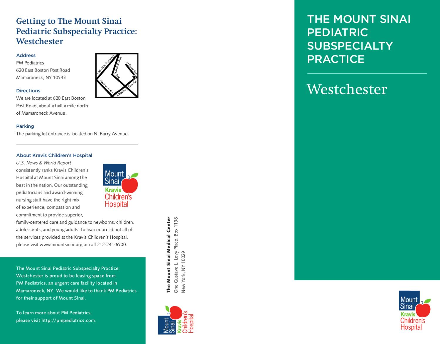The Mount Sinai Pediatric Subspecialty Practice: Westchester