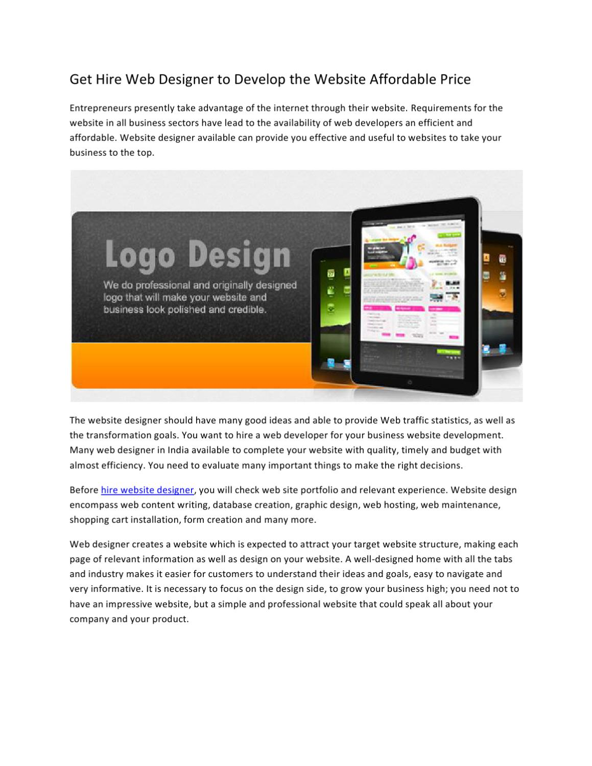 Get Hire Web Designer To Develop The Website Affordable Price By Eric Lewis Issuu