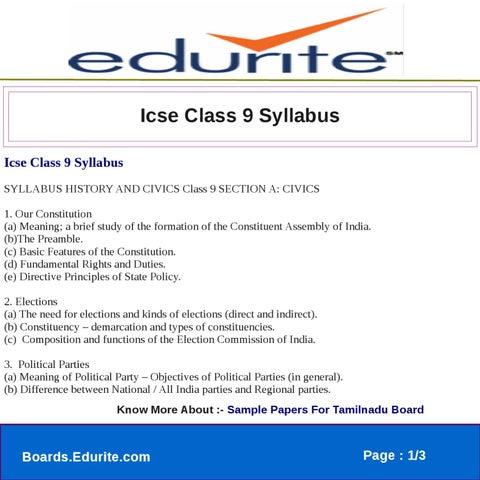 Icse Class 9 Syllabus by edurite team - issuu