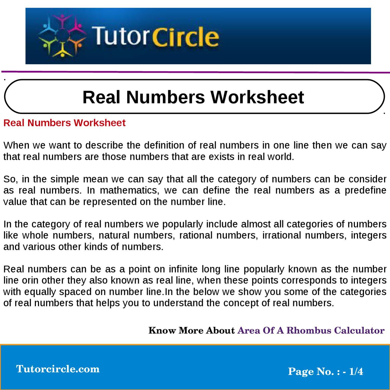 Real Numbers Worksheet By Tutorcircle Team Issuu