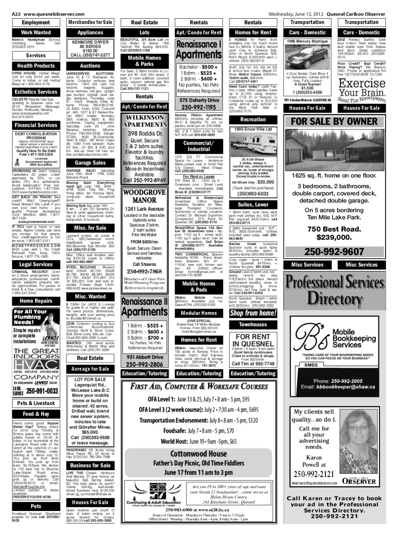 Quesnel Cariboo Observer, June 13, 2012 by Black Press Media