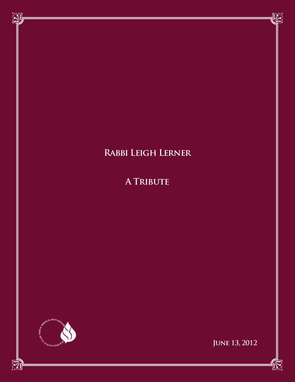 Rabbi Leigh Lerner - A Tribute by Heidi Reinblatt - issuu