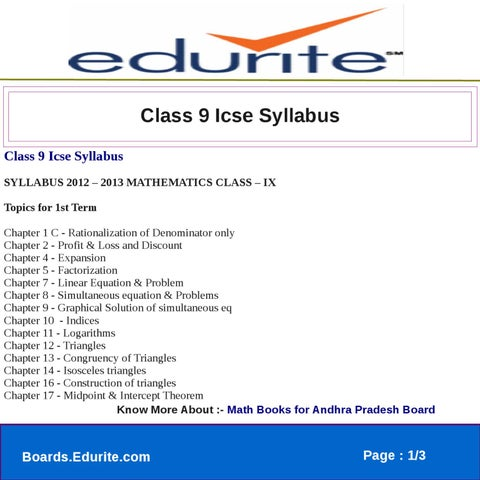 Class 9 Icse Syllabus by edurite team - issuu