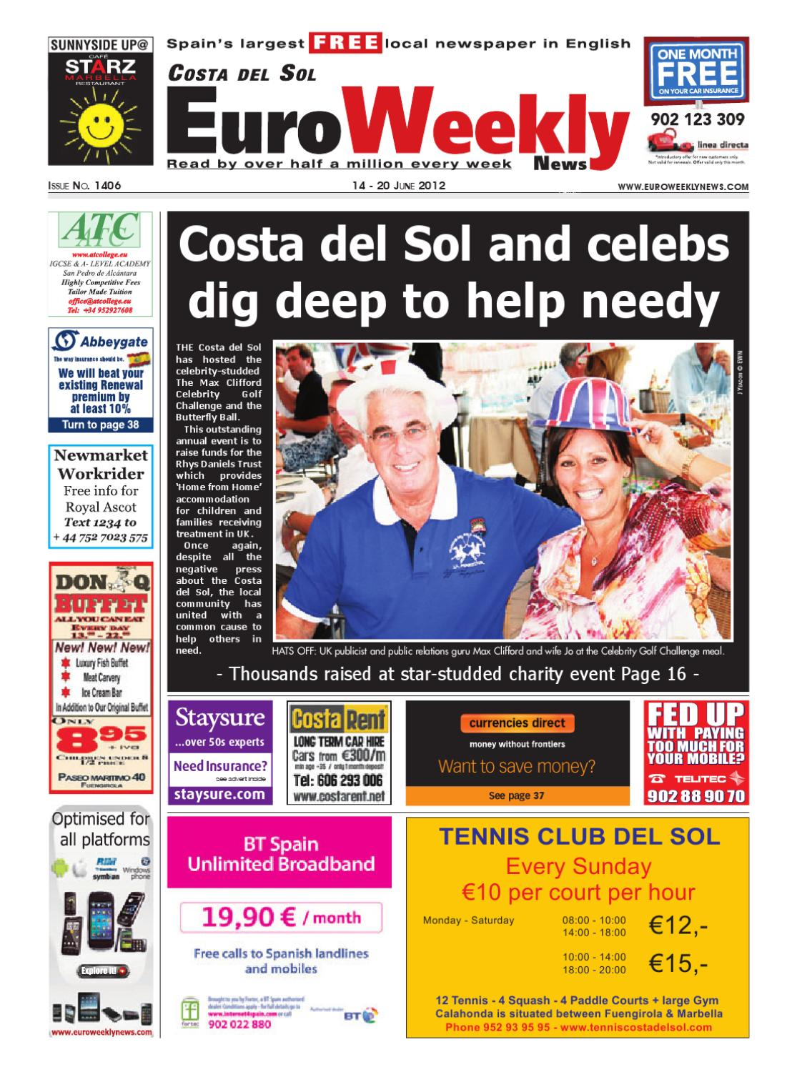 13ad03332 Costa del Sol 14 – 20 June 2012 Issue 1406 by Euro Weekly News Media S.A. -  issuu