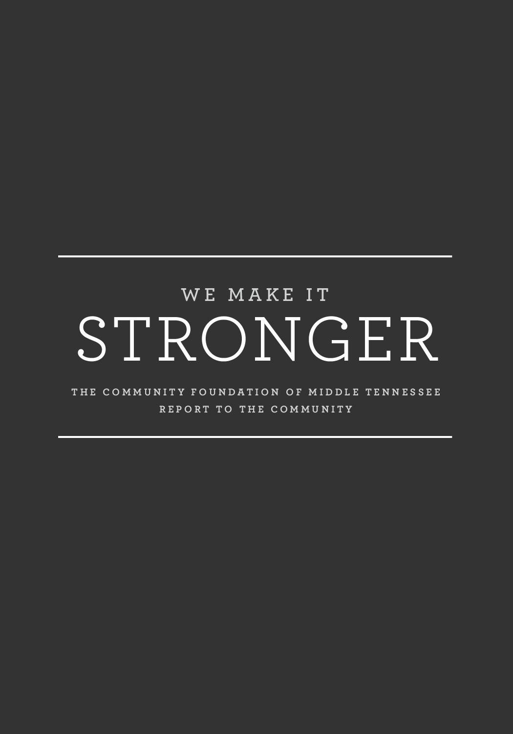 We Make It Stronger  The Community Foundation of Middle Tennessee