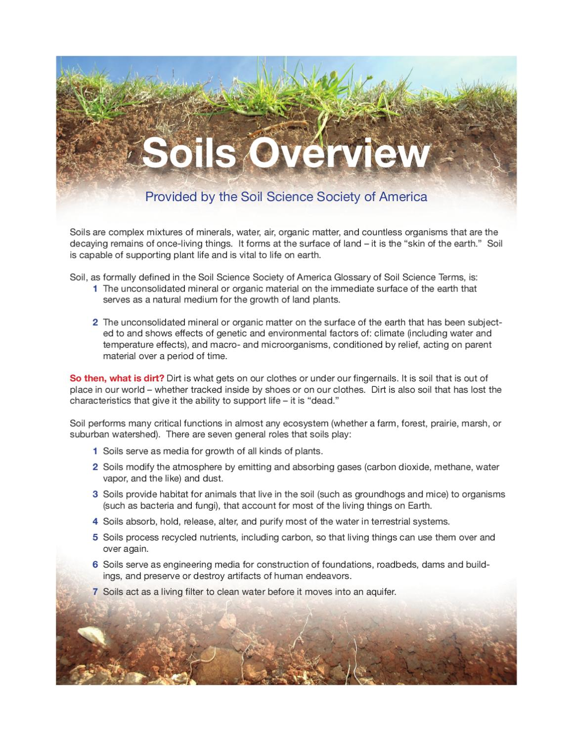 soils overview - by the soil science society of america by u.s. rare