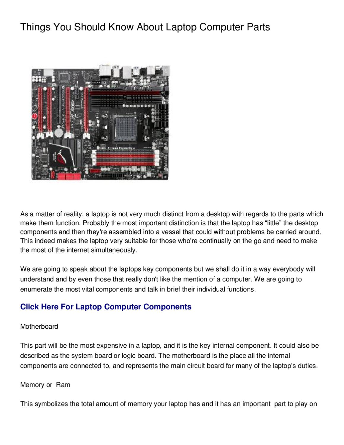 Things You Should Know About Laptop Computer Parts by Evelyn Pouliot