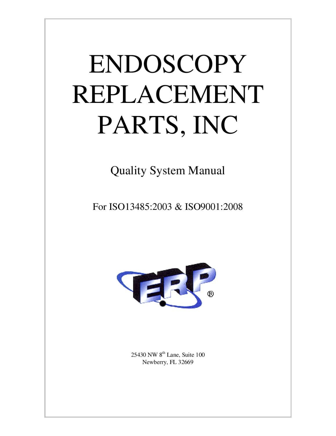 Endoscopy Suite Design: ERPI ISO 13485/9001 QMS By Endoscopy Replacement Parts