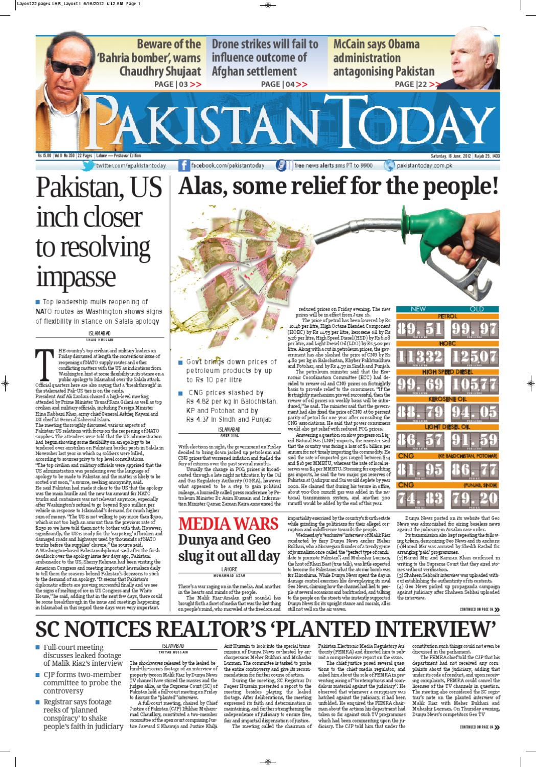 E-paper PakistanToday 16th June, 2012 by Pakistan Today - issuu