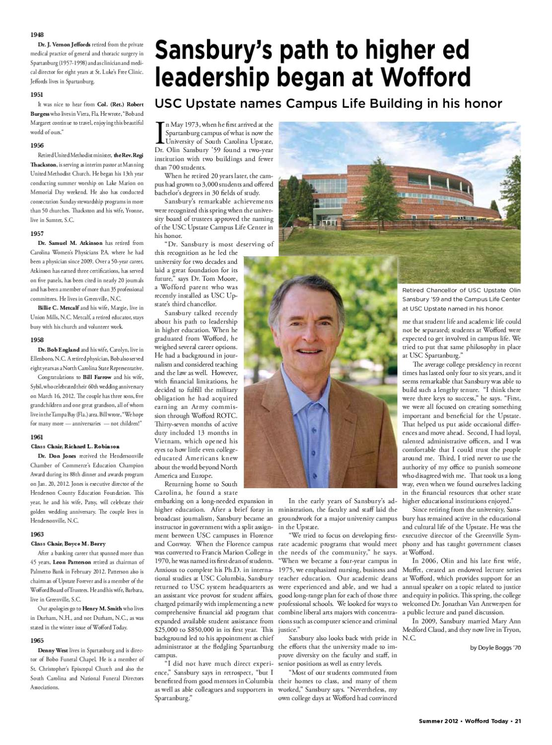 Summer 2012 Wofford Today by Wofford College - issuu