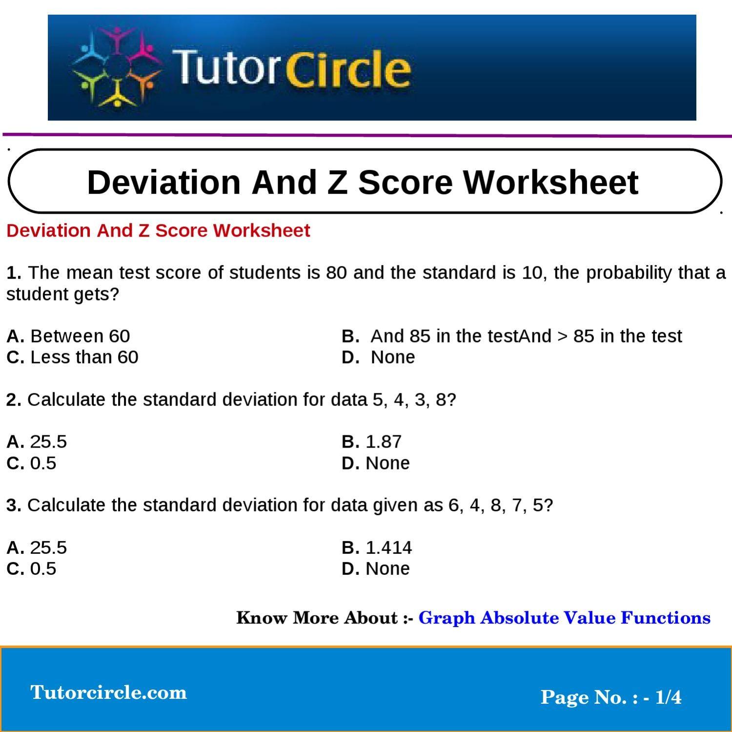 Deviation And Z Score Worksheet by tutorcircle team - issuu