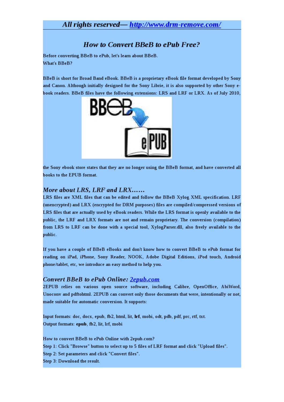 How to Convert BBeB to ePub Free by katrina Jin - issuu