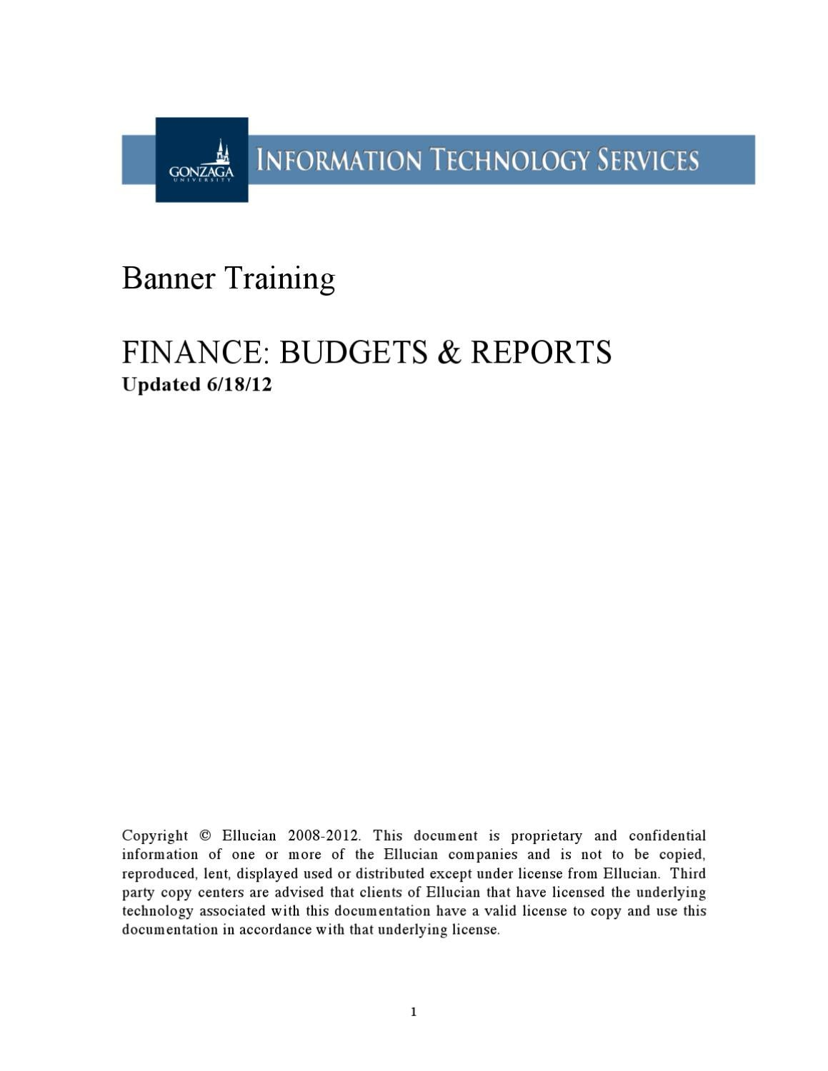 Banner Training: Budgets and Reports by Cassandra Marrs - issuu