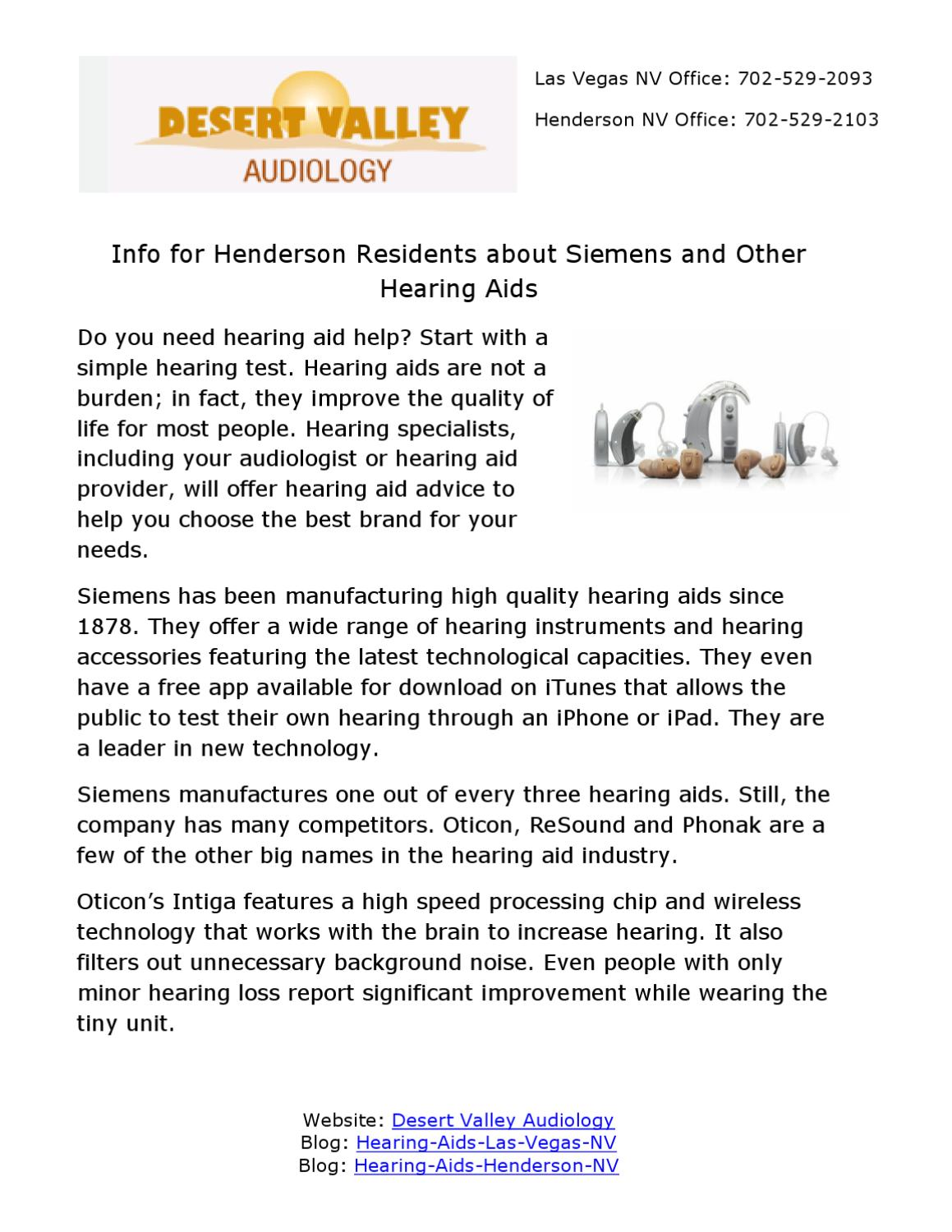 Info for Henderson Residents About Siemens and Other Hearing Aids by