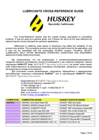 HUSKEY LUBRICANTS CROSS-REFERENCE GUIDE by Rep Office of HUSKEY
