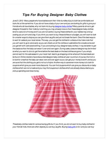 8e703b96514d Tips For Buying Designer Baby Clothes by Allison O Neill - issuu