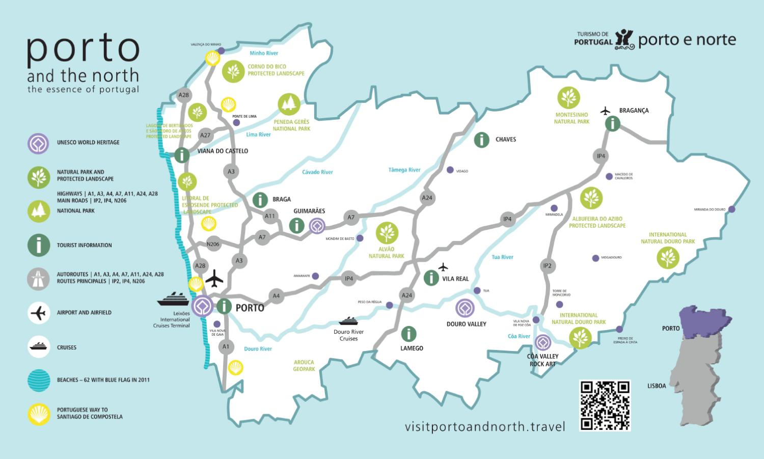 Tourist Map Of Porto And Northern Portugal By Porto Convention - Portugal map north