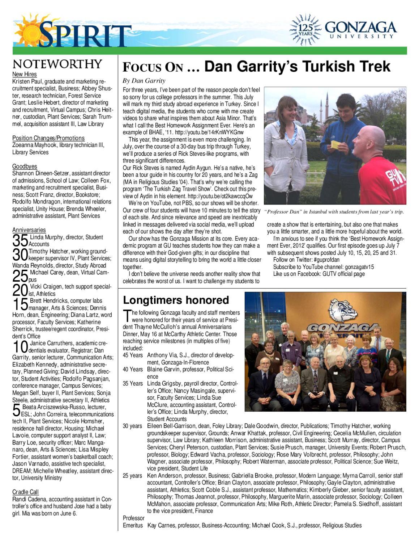 Gonzaga Spirit, Summer 2012, Volume 13 Issue 9 by Gonzaga