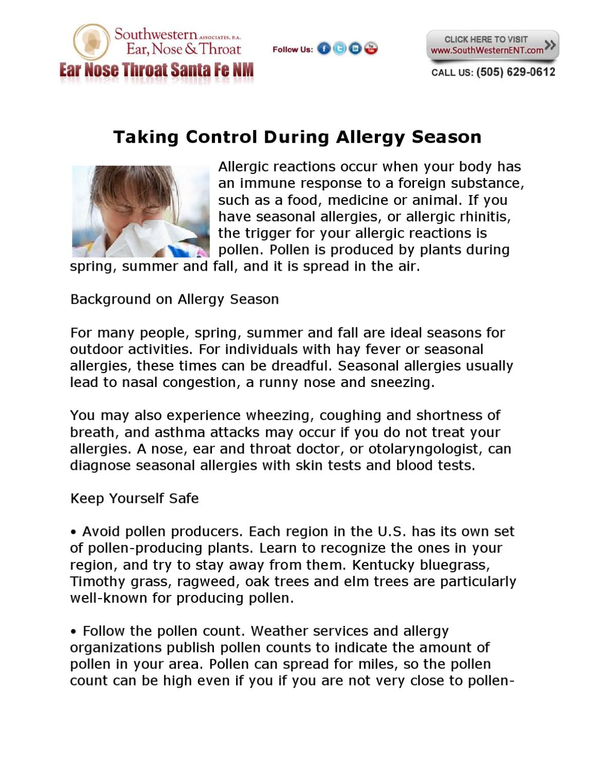Taking Control During Allergy Season by Megan Perkins - issuu