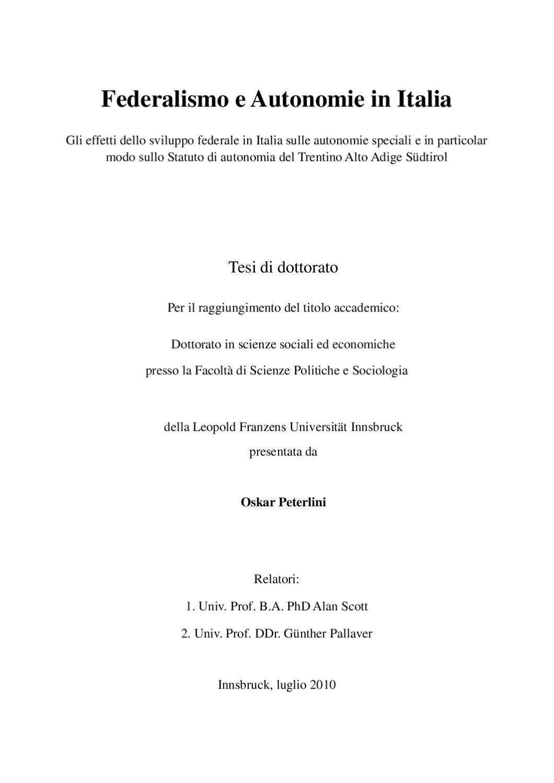 Federalismo E Autonomie In Italia By Oskar Peterlini PhD Issuu