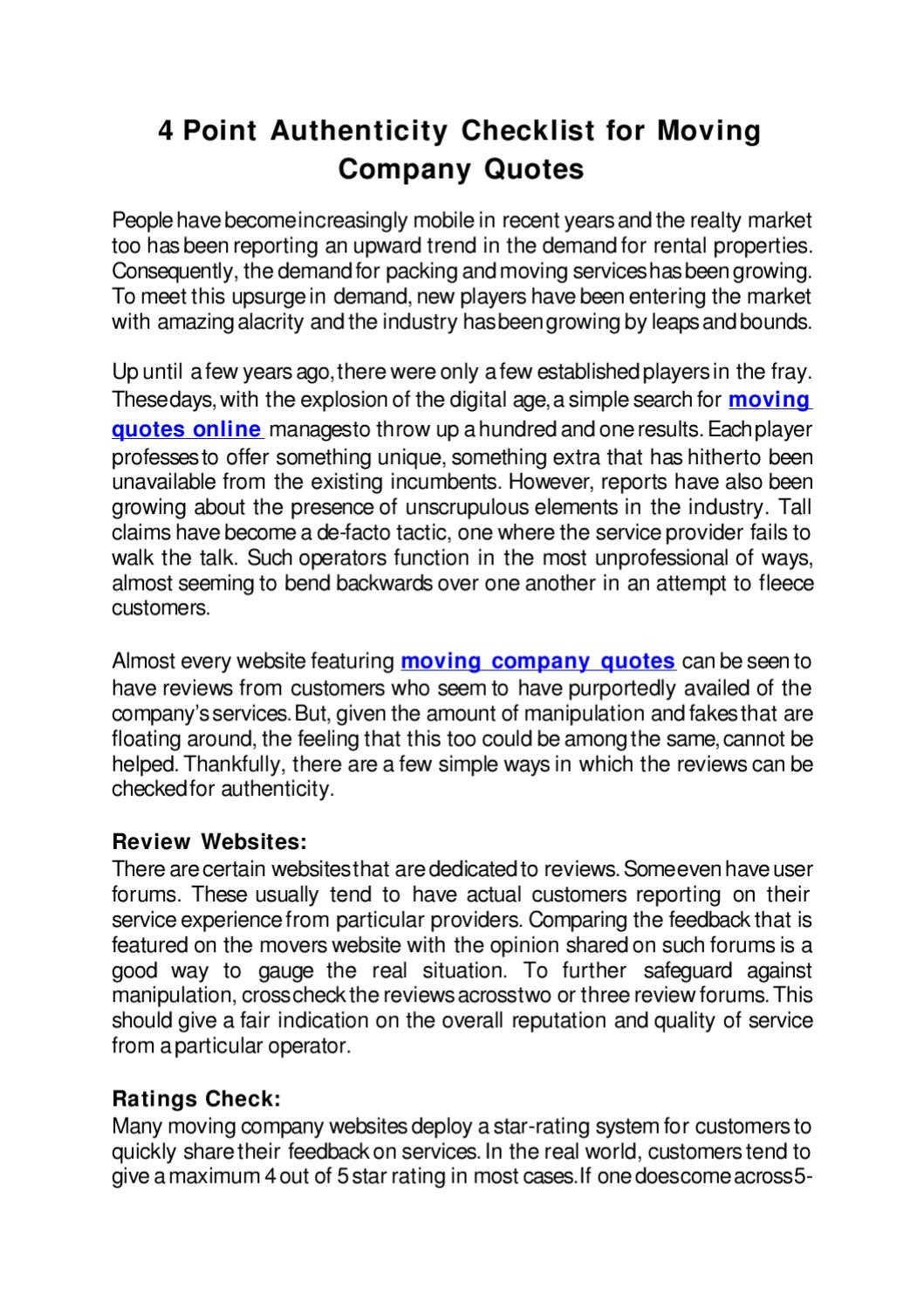 Moving Company Quotes >> 4 Point Authenticity Checklist For Moving Company Quotes By
