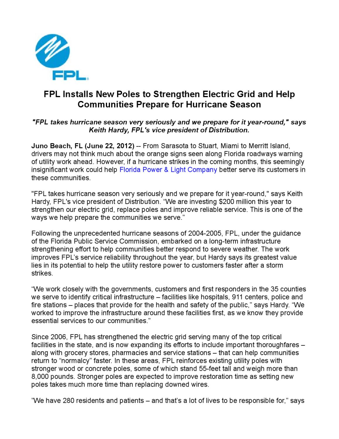 Fpl Installs New Poles To Strengthen Electric Grid And Help Communities Prepare For Hurricane Season By Star One Public Relations Issuu