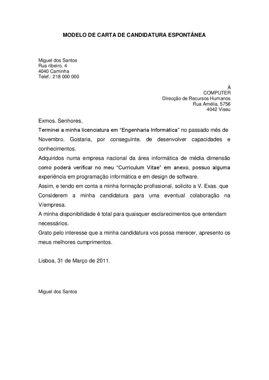 MODELO DE CARTA DE CANDIDATURA ESPONTÂNEA by anti_crise crise - issuu