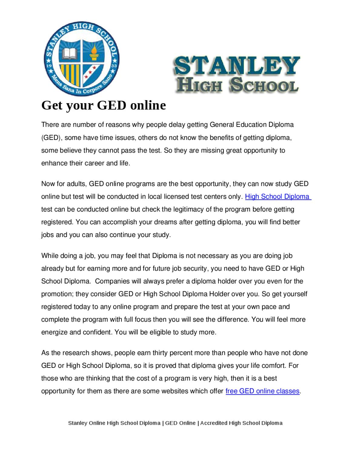 Get Your Ged Online >> Get Your Ged Online By Robert Stanley Issuu