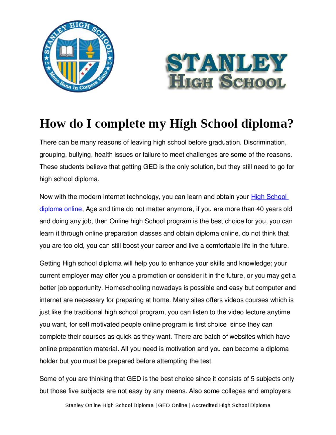 How Do I Complete My High School Diploma By Robert Stanley Issuu