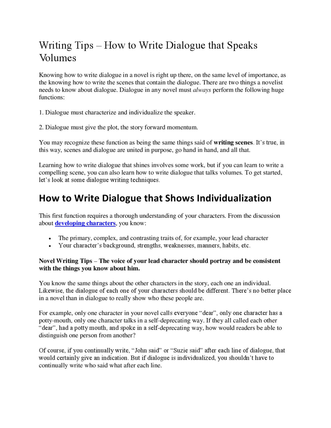 Writing Tips - How to Write Dialogue that Speaks Volumes by