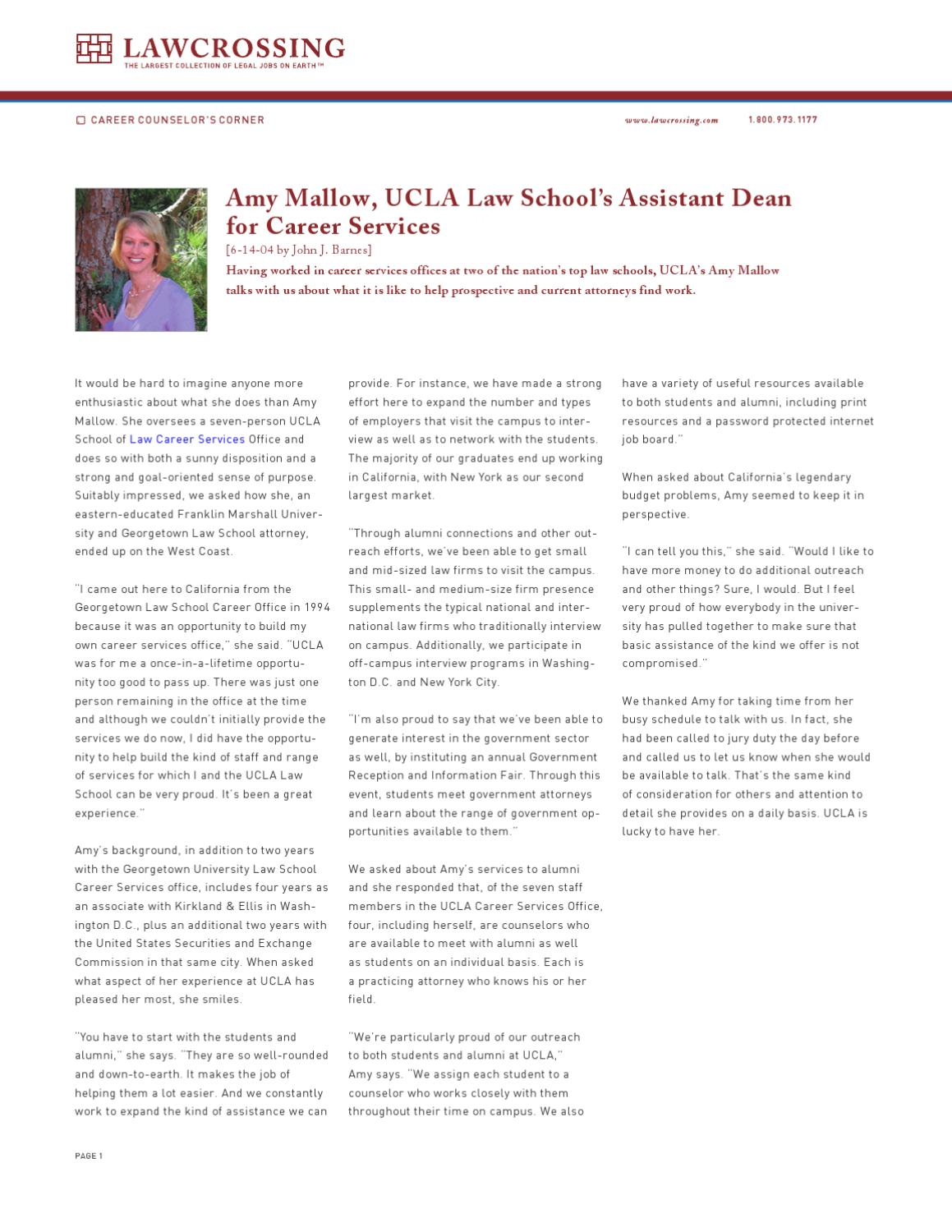 Amy Mallow, UCLA Law School's Assistant Dean for Career