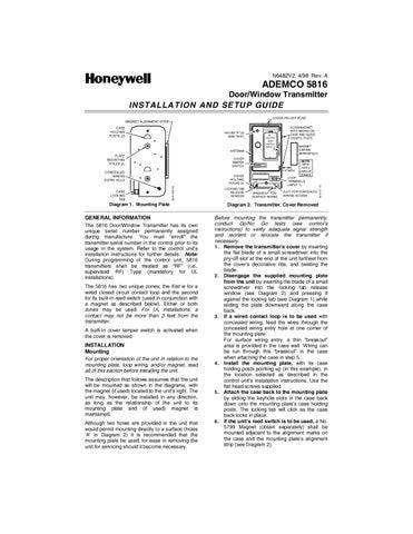 Honeywell 5816 Install Guide by Alarm Grid - issuu