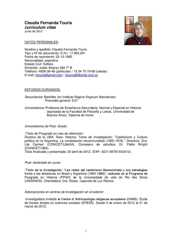 CV Claudia Touris junio 2012 by RELIGAR UBA - issuu